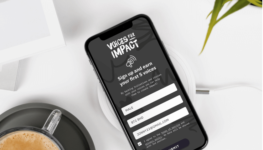 Case Study: Voices for Impact - Mobile App Sign Up Preview